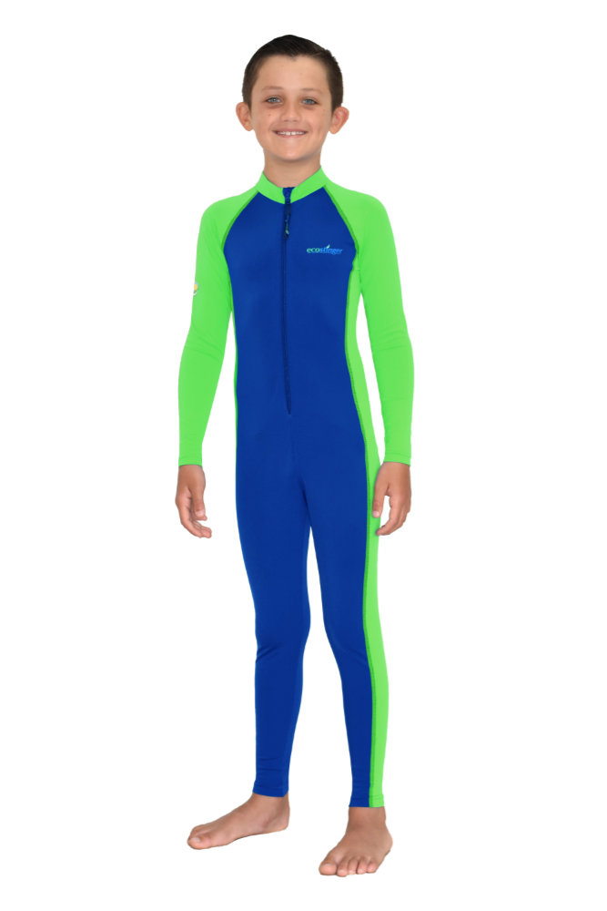 boys full body swimwear blue lime