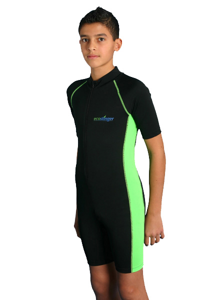 boys junior sunsuit black lime