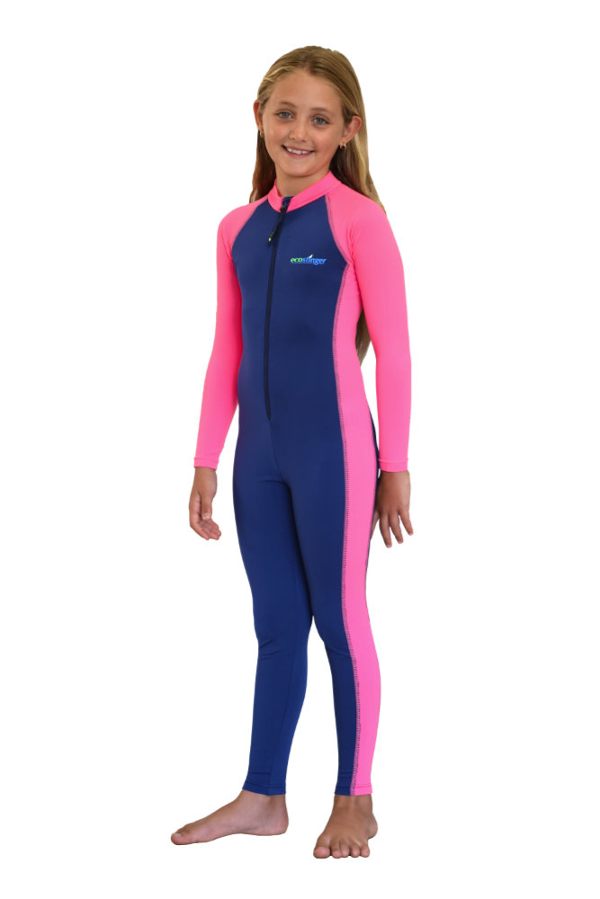 Girls stinger suit navy pink uv protection