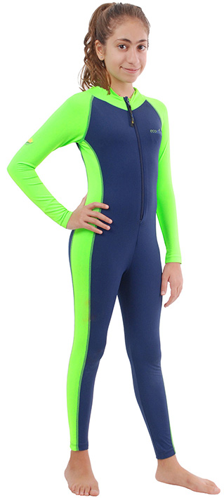 Girls stinger suit navy lime