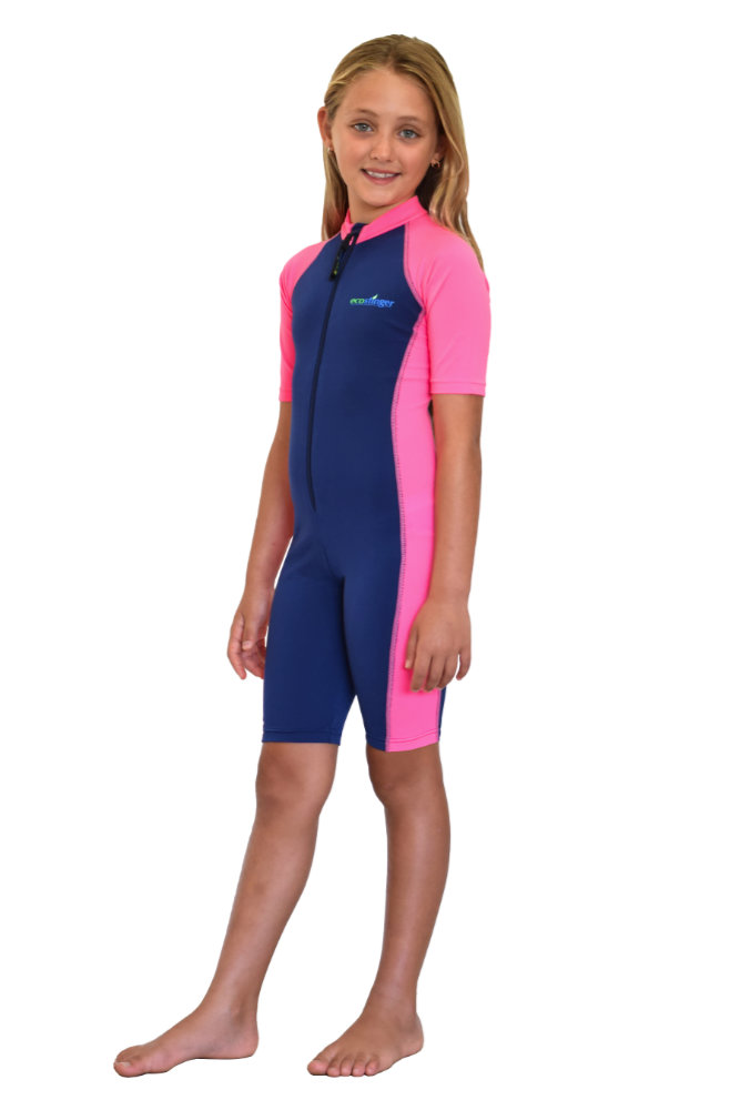 girls sun protection sunsuit navy pink shorty style