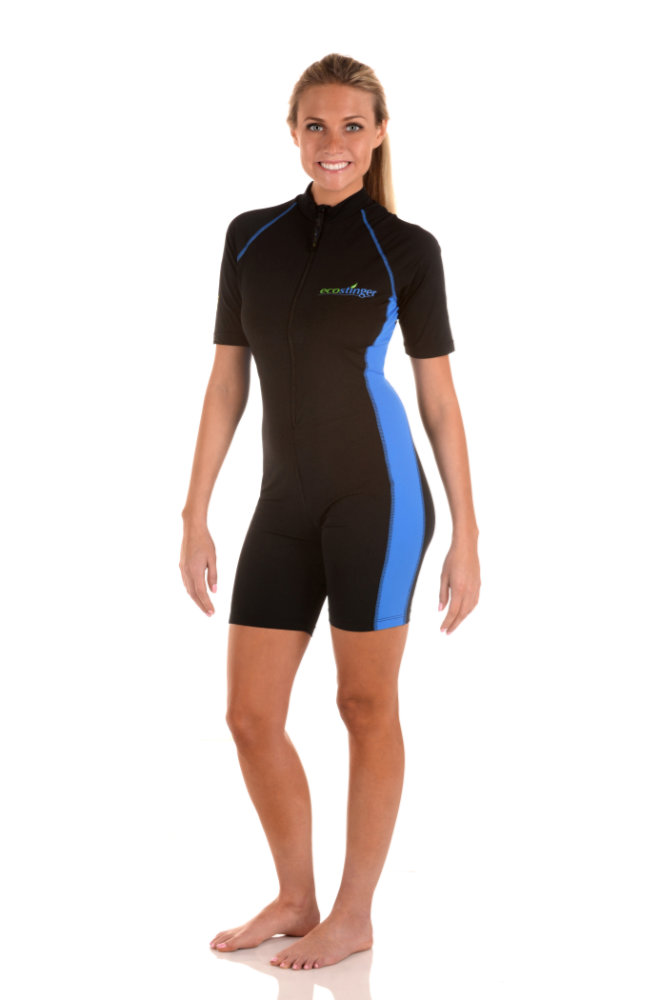 women uv protective sunsuit black blue